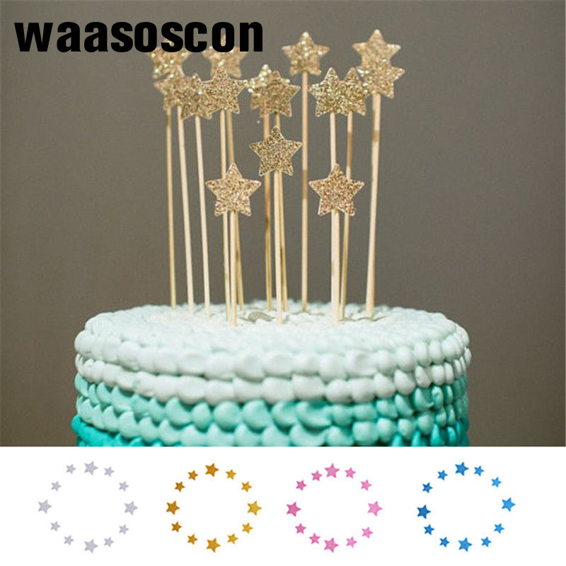 Detail Feedback Questions About 12pcs Set Bling Star Cake Toppers