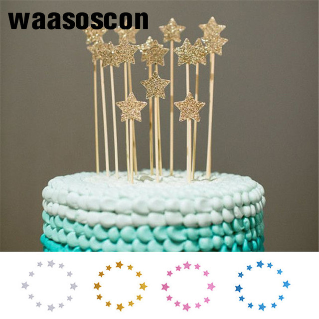 12pcsset Bling Star Cake Toppers Decorative Insert Card For Wedding