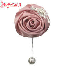 Nake Pink Diamond Rose Pearl Pin Corsages Groom Marriage Wedding Pin Brooch Rose Corsages Factory boutinnere Brooch Pin XH0675(China)
