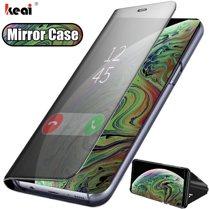 Luxury Mirror Flip Leather Case For IPhone XR X XS MAX Shockproof Protective Cover For