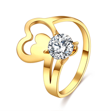 CACANA 316L ze stali nierdzewnej biżuteria ze stali nierdzewnej niepowtarzalny kryształ serce pierścienie dla kobiet ze stali chirurgicznej nikiel CZ Crystalrings tanie tanio Kobiety Metal Strona Prong ustawianie Moda TRENDY Wszystko kompatybilny Zespoły weselne R232 Pierścionki Will Not Fade
