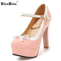 RizaBina Women Spring Sweet High Heel Shoes Women Square Heel Pumps Patent Leather Candy Color Buckle