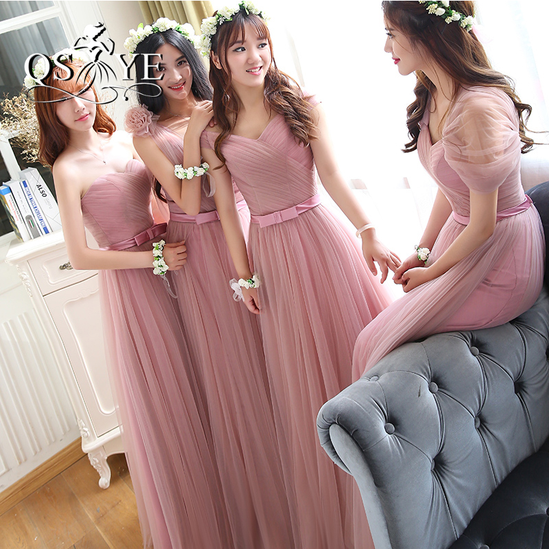Vintage Dusty Pink largo Vestidos de dama de honor 2017 nueva ...