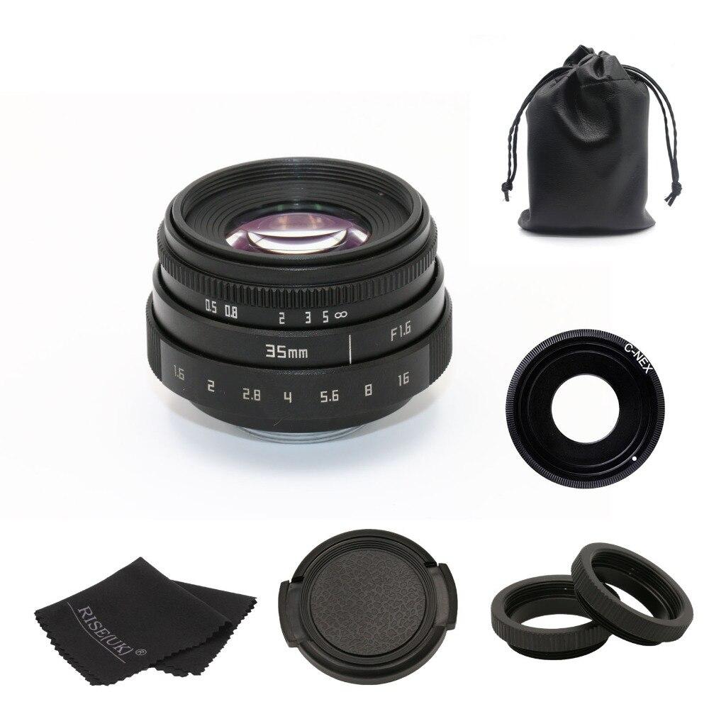 Nouveau arrivent fujian 35mm f1.6 monture C caméra CCTV Lens II pour Sony NEX E-mont appareil et adaptateur faisceau noir livraison gratuite