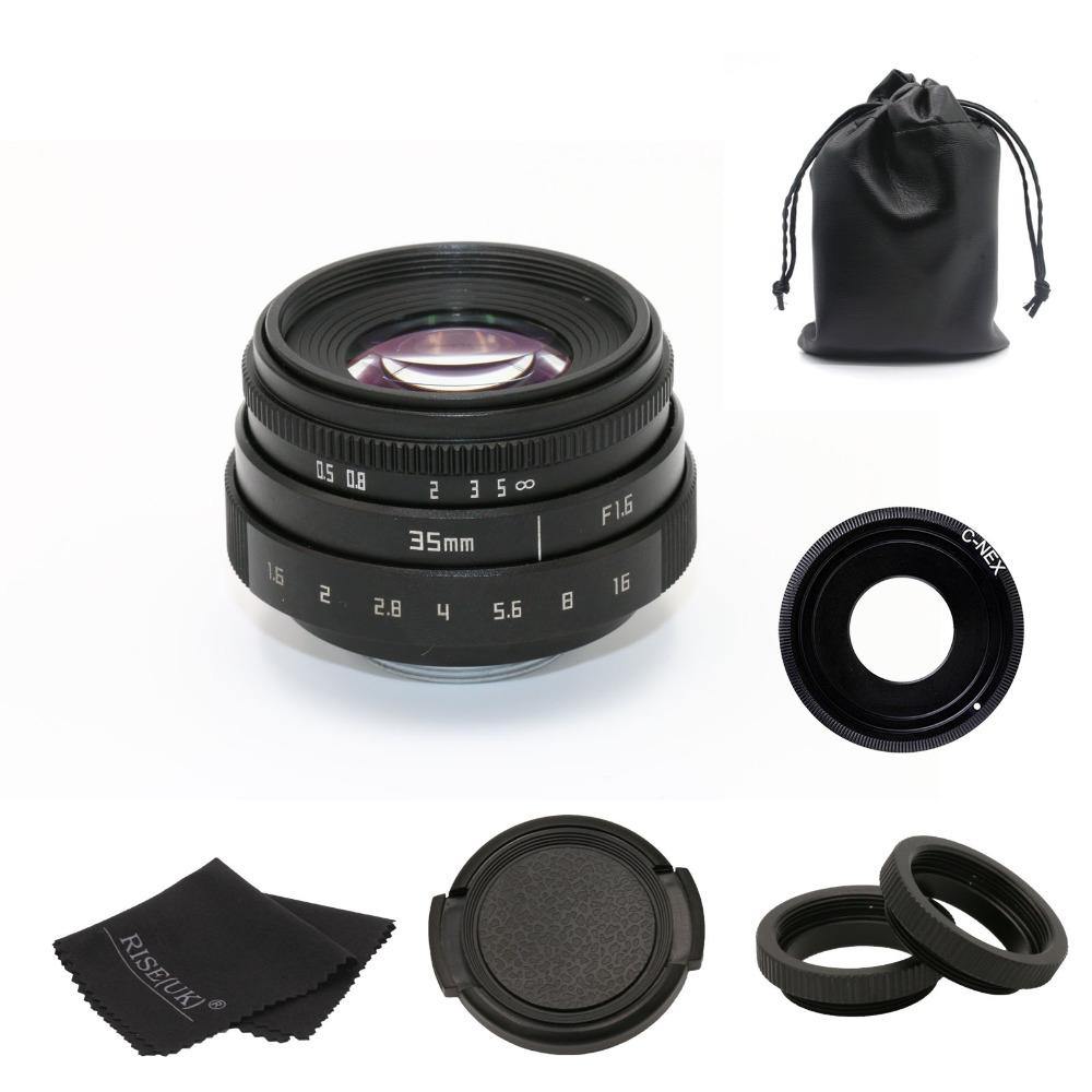 Prix pour Nouveau arrivent fujian 35mm f1.6 monture C caméra CCTV Objectif II pour Sony NEX e-mount caméra & Adaptateur faisceau noir livraison gratuite