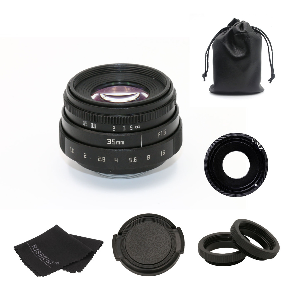 new arrive fujian 35mm f1.6 C mount camera CCTV Lens II for Sony NEX E-mount camera & Adapter bundle black free shipping 35mm lens c mount f 1 7 lens cctv lens features alloy casing free shipping