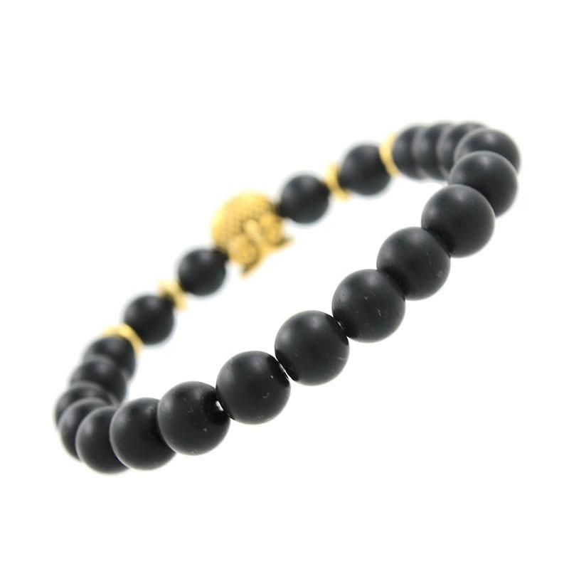 Back Of Bracelet: Natural Black Stone Bracelet With Gold Owl