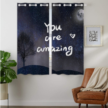 Blackout Curtains Darkening 2 Panels Grommet Window Curtain for Bedroom Starry Night Sky Tree You Are Amazing