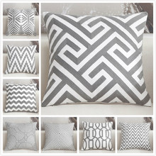 Good Quality 18x18inch Cushion Cover Gray Embroidery Pillowcase Hotel Office Home Decrative Sofa Back