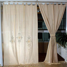 Europe Beige Cotton Linen curtains for bedroom Hollowing Blackout Grommet Top Curtain for Living Room Window Home Decoration