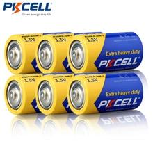 6 adet PKCELL R20P süper ağır D boyutu piller 1.5V 13A UM1 MN1300 E95 karbon çinko pil birincil kuru pil