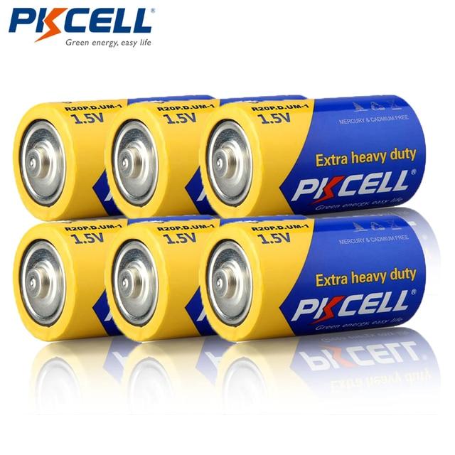 6Pcs PKCELL R20P 슈퍼 헤비 듀티 D 사이즈 배터리 1.5V 13A UM1 MN1300 E95 탄소 아연 배터리 기본 건전지