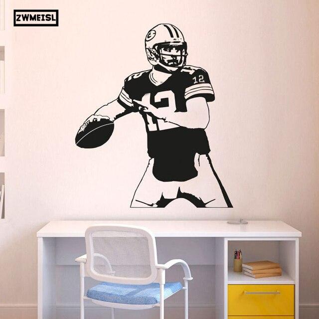 ZWMEISL Green Bay Packers Aufkleber Aaron Rodgers Wandtattoo Art Decor  Aufkleber Vinyl Poster Packers Wandbild Removable