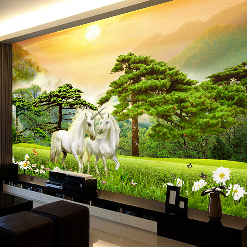 Custom Classic Sunset White Horse 3D Animated Wallpaper Wallpaper Room Room Bedroom Wall Fabric Home Decoration Wall