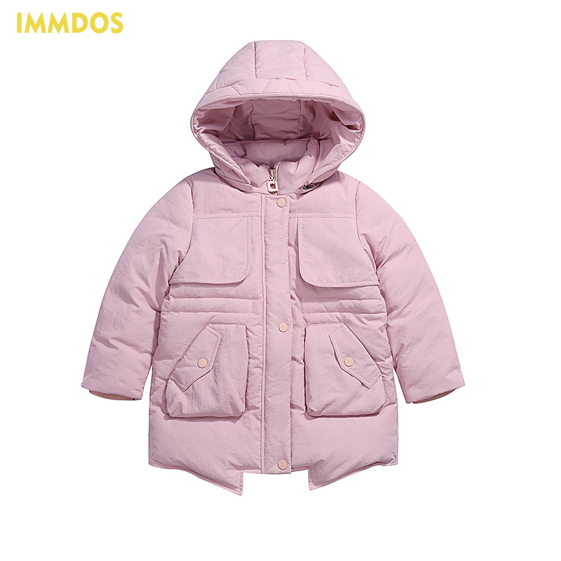 IMMDOS 2017 Winter Warm Goose Down Jacket For Girls Long Sleeve Hooded Clothing Baby Pocket Outwear Kids Zipper Thick Clothes immdos children coat for girl winter wool outerwear kids long sleeve hooded warm baby clothing girls solid fashion jacket