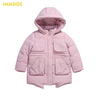 IMMDOS Children Winter Casual Goose Down Jacket For Girls Long Sleeve Hooded Clothing Kids 2018 New Year Thicken Warm Outwear