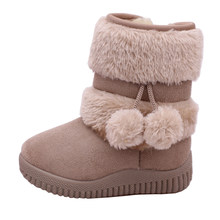 Girls Winter Autumn Warm Snow Boots cute tassels Fleece Short Mid Calf Boots Shoes for Baby Kids Children Toddler(China)