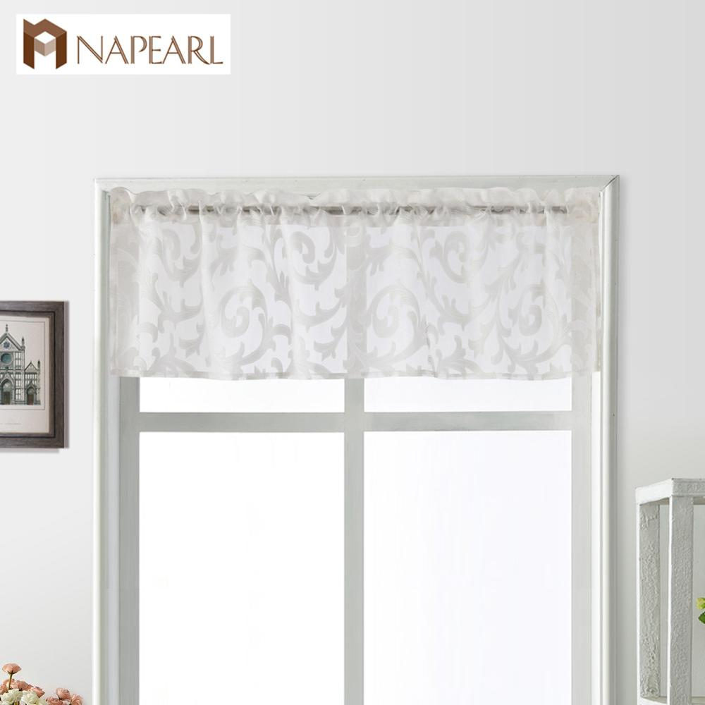 NAPEARL 1 Piece Short Tulle Curtains Small Valance Drops Rustic Home Decor Thread Kitchen Windows Rod Pocket Stripe Match Drapes