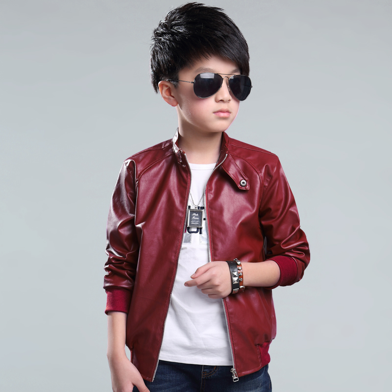 2016 New Leather Jacket Pu Big Virgin Boys Fashion Zipper Jackets Coat Slim