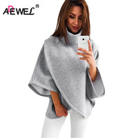 ADEWEL 2018 Autumn Winter Fashion Irregular Wide Sleeve Women Knitted Pullovers Blouse Ladies Casual Loose Jumper
