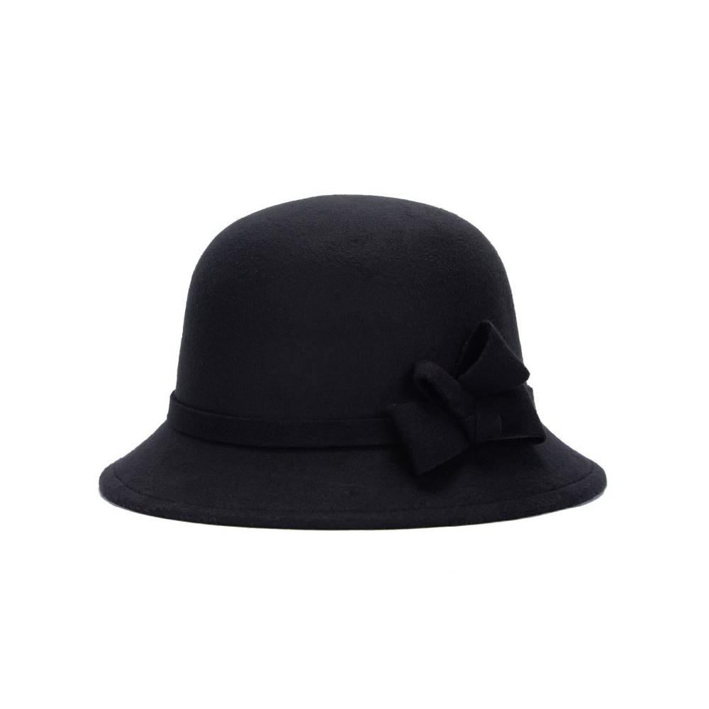 Женская шляпа-котелок, повседневная фетровая шляпа, женские вечерние шляпы с регулируемой гибкой платформой, осенне-зимние шляпы, Женские винтажные пляжные шляпы от солнца Ne - Цвет: black