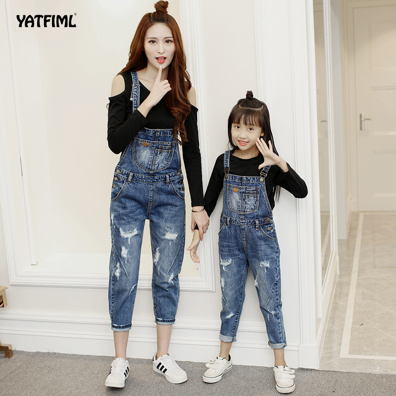 YATFIML Mother Daughter Matching Overalls Mommy and Me Trousers Mum Girl Overalls Mom Baby Girl Pants Set Family Look Pants girl