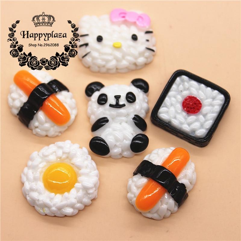 10pcs Kawaii Resin Simulation Japan Sushi Miniature Food Art Flatback Cabochon Accessories DIY Craft  Decoration