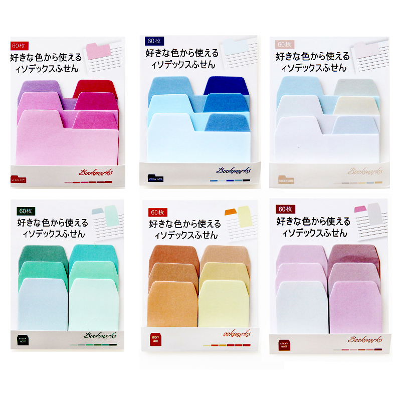 60sheets/lot Watercolor Gradient Japanese Sticky Note Memo Pad Post It Office Planner Sticker Paper Stationery School Supplies