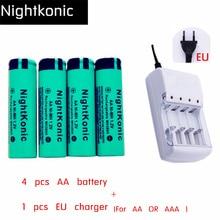 4 UNIDS/LOTE AA batería + 1 UNIDS UE/EE.UU. Cargador 4 ranura (para AA y AAA) 1.2 V NI-MH AA Batería Recargable verde Nightkonic