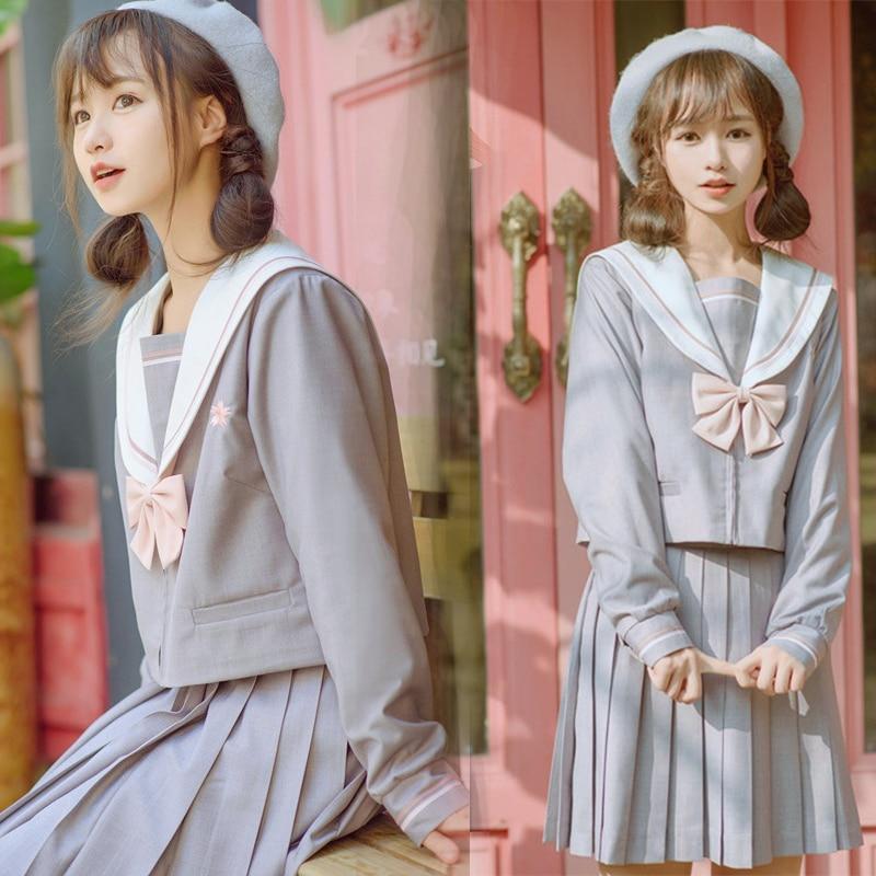 UPHYD New Arrival Japanese School Uniform Girls Korean High School Women Sailor Suits Sailor Uniforms Top+Skirt+Tie W84