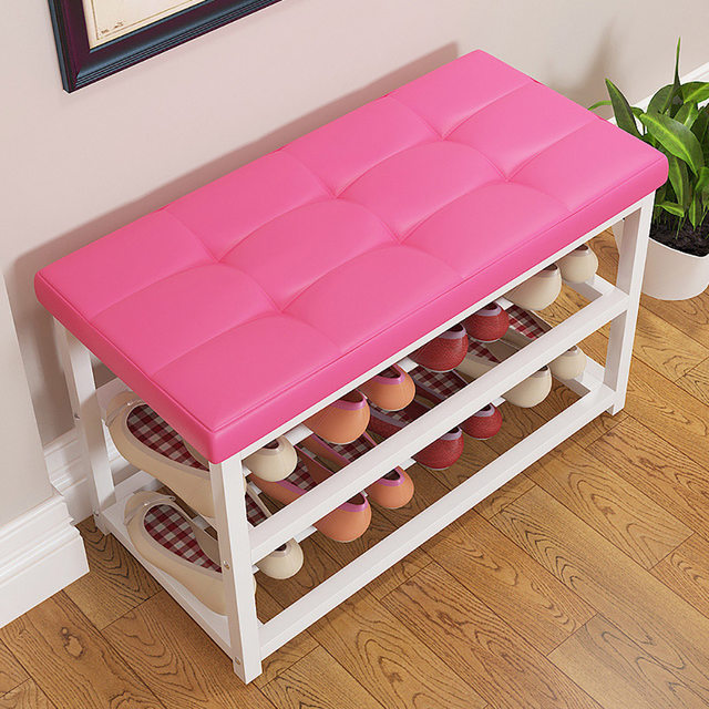 Online Shop Modern Double Layer Shoes Storage Rack Stool with Padded ...