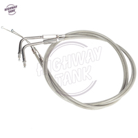 2 Pcs 130cm Motorcycle Chrome Braided Throttle Cable Wires Motor Speed Line Case For Harley Road