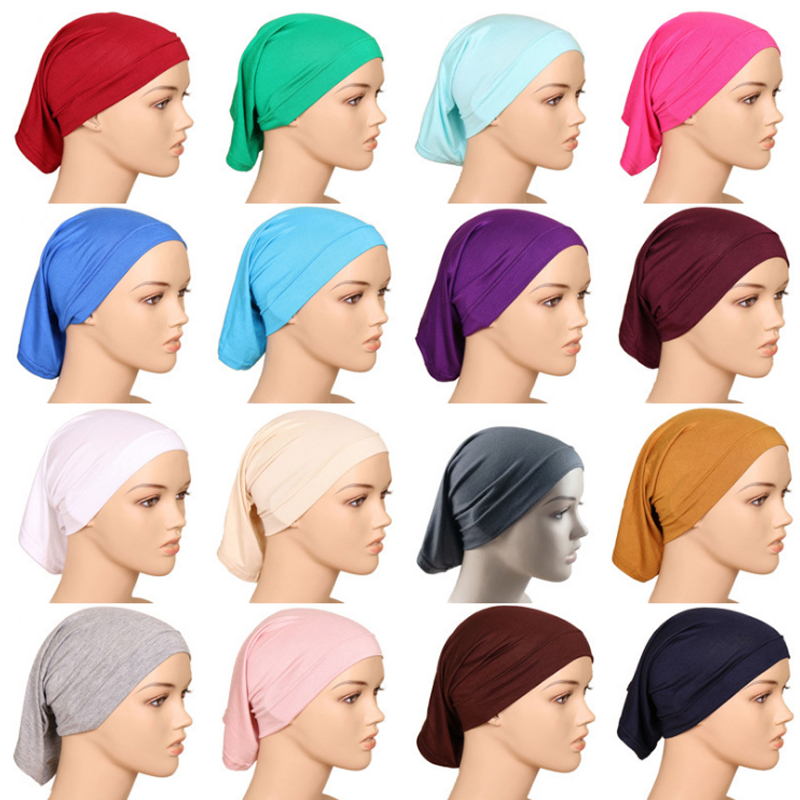 High Quality All-match India Caps Fashion 1pc Women Men Skullies & Beanies Soft High Elastic Muslim Turban Solid Hats Mild And Mellow
