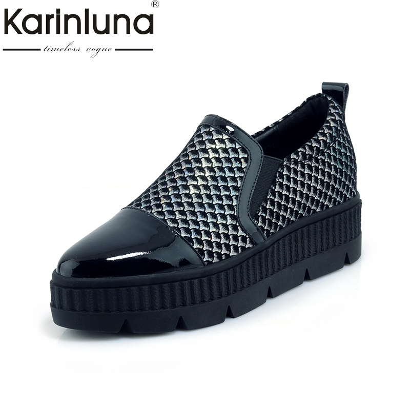 Karinluna Top Quality Genuine Leather Spring Flats Shoes Woman Black Slip On Casual Loafers Women Shoes Footwear new 2017 men s genuine leather casual shoes korean fashion style breathable male shoes men spring autumn slip on low top loafers