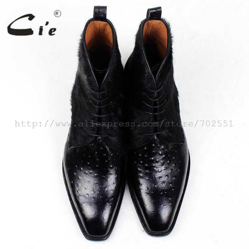 CIE Бесплатная доставка ручной работы ботинки из конского волоса/empossed страуса подошва из телячьей кожи низ; женская обувь из дышащего материала Цвет черные мужские кожаные ботинки A86