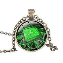 Glass Dome Cabochon Circuit Board Art Print Pendant Necklace Charm Gifts for Her Geek Electronics Technology Circuit Jewelry