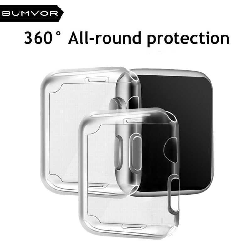 BUMVOR For Apple watch 3/2/1 screen protector tpu all-around protective case clear ultra-thin cover for apple watch 42MM/38MM tpu clear slim soft case cover 38 42mm cover screen protector film accessories for apple watch 1 2 3