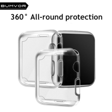 BUMVOR For Apple watch 3/2/1 screen protector tpu all-around protective case clear ultra-thin cover for apple watch 42MM/38MM watch face protector case ultra thin full screen protector cover pc case for apple watch series 1 2 38mm