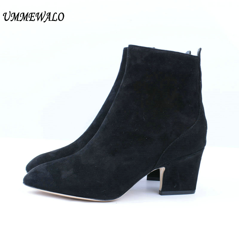 UMMEWALO Boots Women Suede Leather High Heel Boots Ladies Casual Autumn Winter Shoes Qualiy Pointed Toe