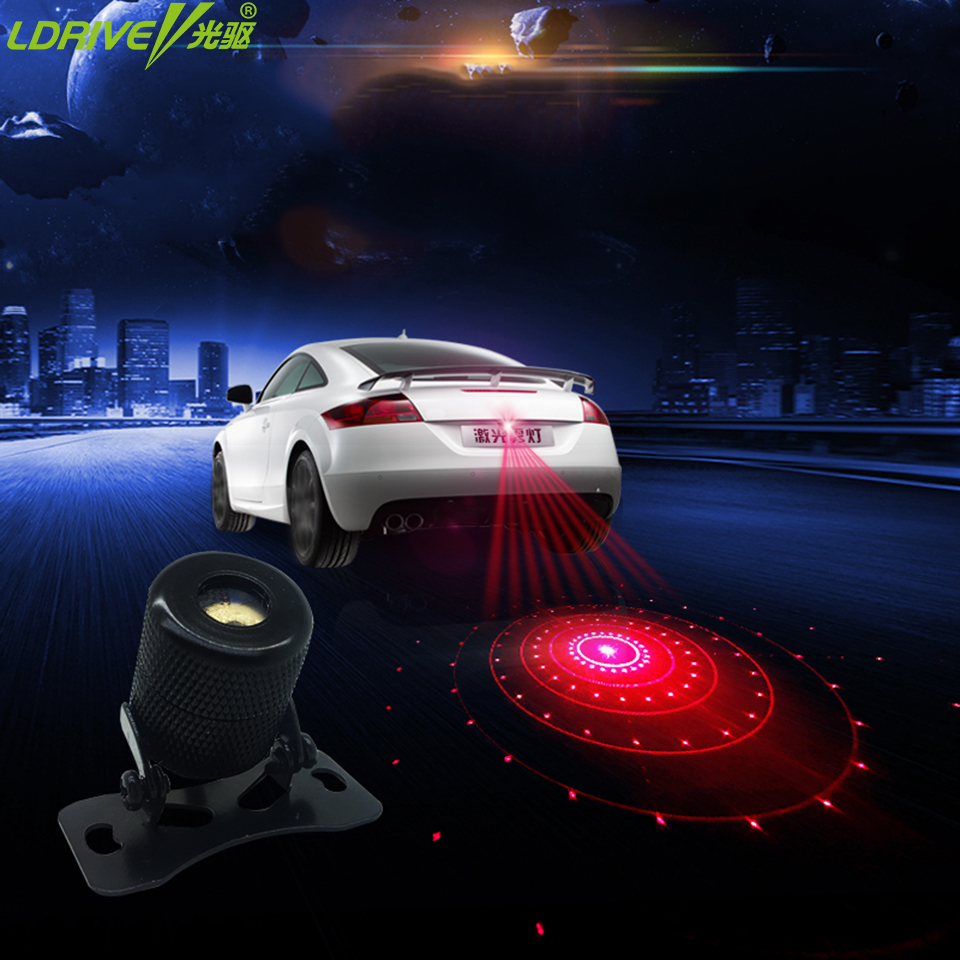 LDRIVE Motorcycle Car laser fog lights safety Anti Collision Car Styling Warning 6pattern interior decoration for vw toyota car tracing cauda laser light for volkswagen vw jetta mk6 bora 2010 2014 special anti fog lamps rear anti collision lights