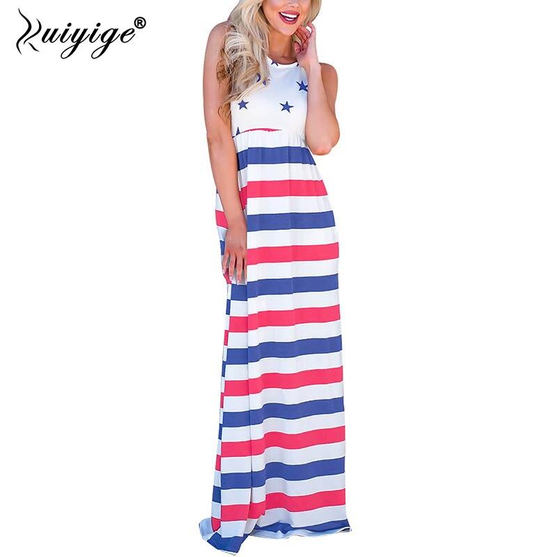 Ruiyige Summer Striped O Neck Women Maxi Dresses Casual Tank Star Patchwork Dress Sleeveless Long Bench Vestidos Holiday 2018