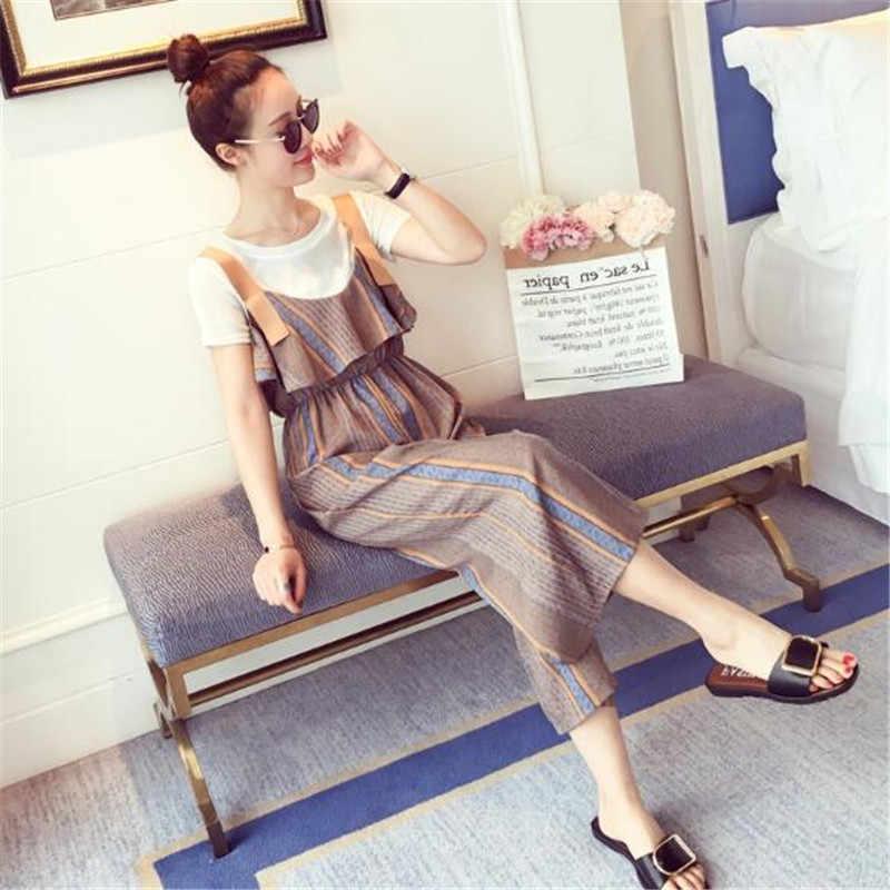 新しいファッション女性スーツ夏半袖tシャツ+サスペンダーレジャー足首丈パンツ2ピースセットスリムパンツスーツA0482