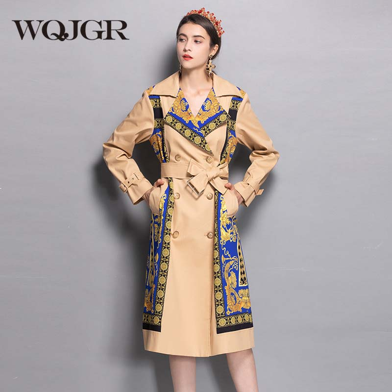 WQJGR 2019 Autumn And Winter Turn-Down Collar Long Trench Coat Women Long Sleeve High Quality Spliced Business Outerwear