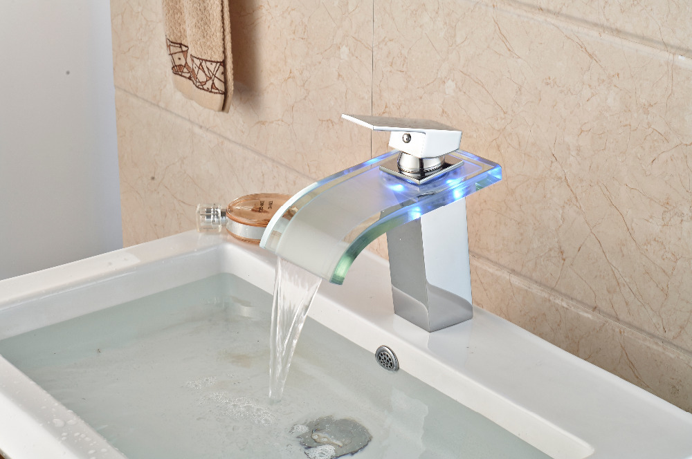 Free Shipping ! New LED Chrome Finish Waterfall Deck Mounted Basin Faucet Vessel Sink Mixer tap free shipping gold clour wall mounted vessel sink faucet basin waterfall faucet
