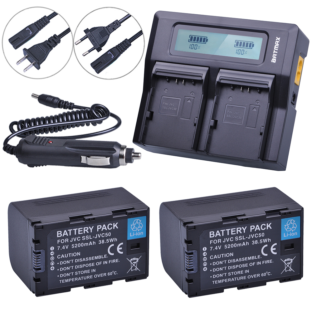 2pcs SSL-JVC50 JVC50 SSLJVC50 Rechargeable Battery+LCD Ultra Fast 3X Faster Dual Charger for JVC GY-HM600 GY-HM650 GY-LS300 3 6v 2400mah rechargeable battery pack for psp 3000 2000