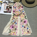 Women Summer Scarves 2016 Women Scarves and Shawls Flower Embroidered Scarf Cotton Oversize Bandana Foulard Femininas Cachecol