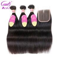 Ariel Straight Hair 3 Bundles With Closure Natural Color Peruvian Hair Bundles With Closure Non Remy