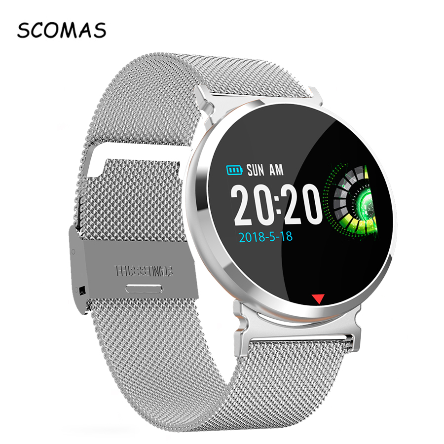 SCOMAS Q8 reloj inteligente pantalla a Color OLED Smartwatch de Fitness Tracker de Monitor de presión arterial para los hombres las mujeres