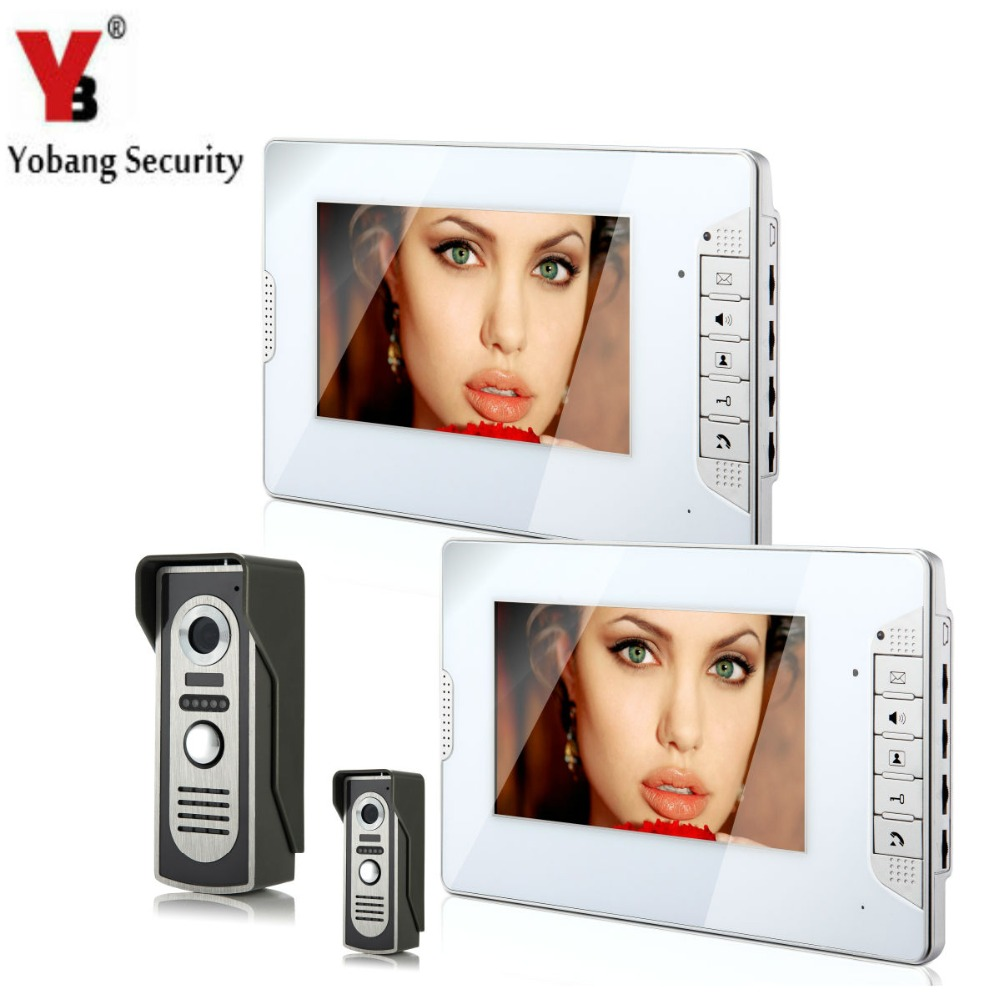 YobangSecurity Video Intercom Monitor 7 Video Door Phone Home Security Wire 2 Camera 2 M ...