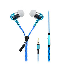 Metal Zipper Earphone For Xiaomi mi iphone Mobile Phone Wired 3.5mm In-Ear Ear Phones With Microphone Stereo Bass Earbuds